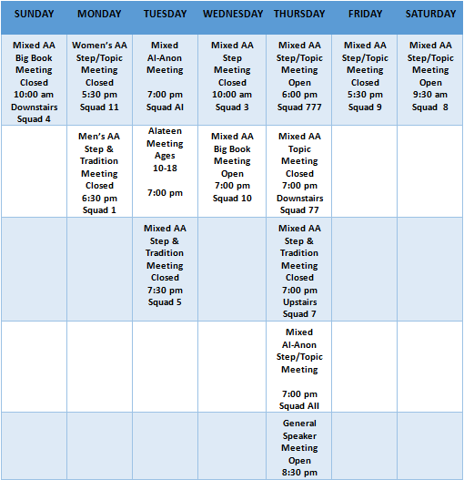 Andover Alano Society - Meeting Schedule